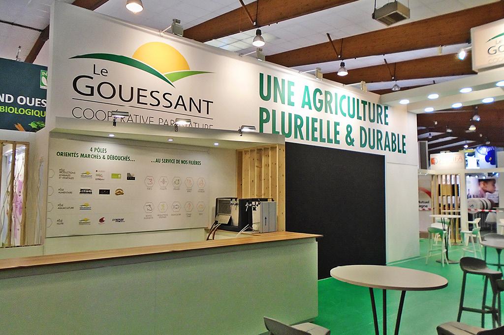 Un stand 150 m2 conçu par Bicub pour la présence de Le Gouessant sur le salon de SPACE 2018.