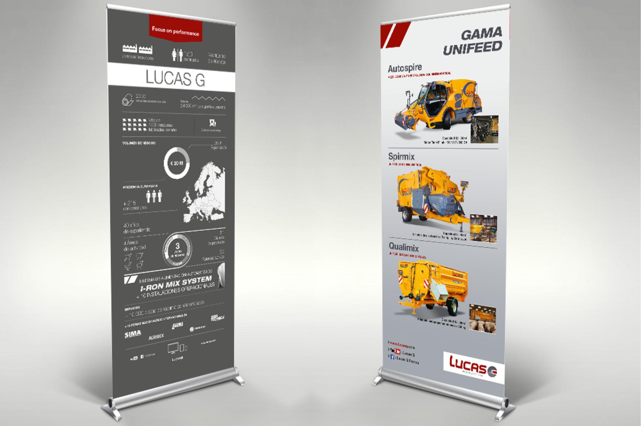 Bicub a conçu deux rolls-up pour la société Lucas G.