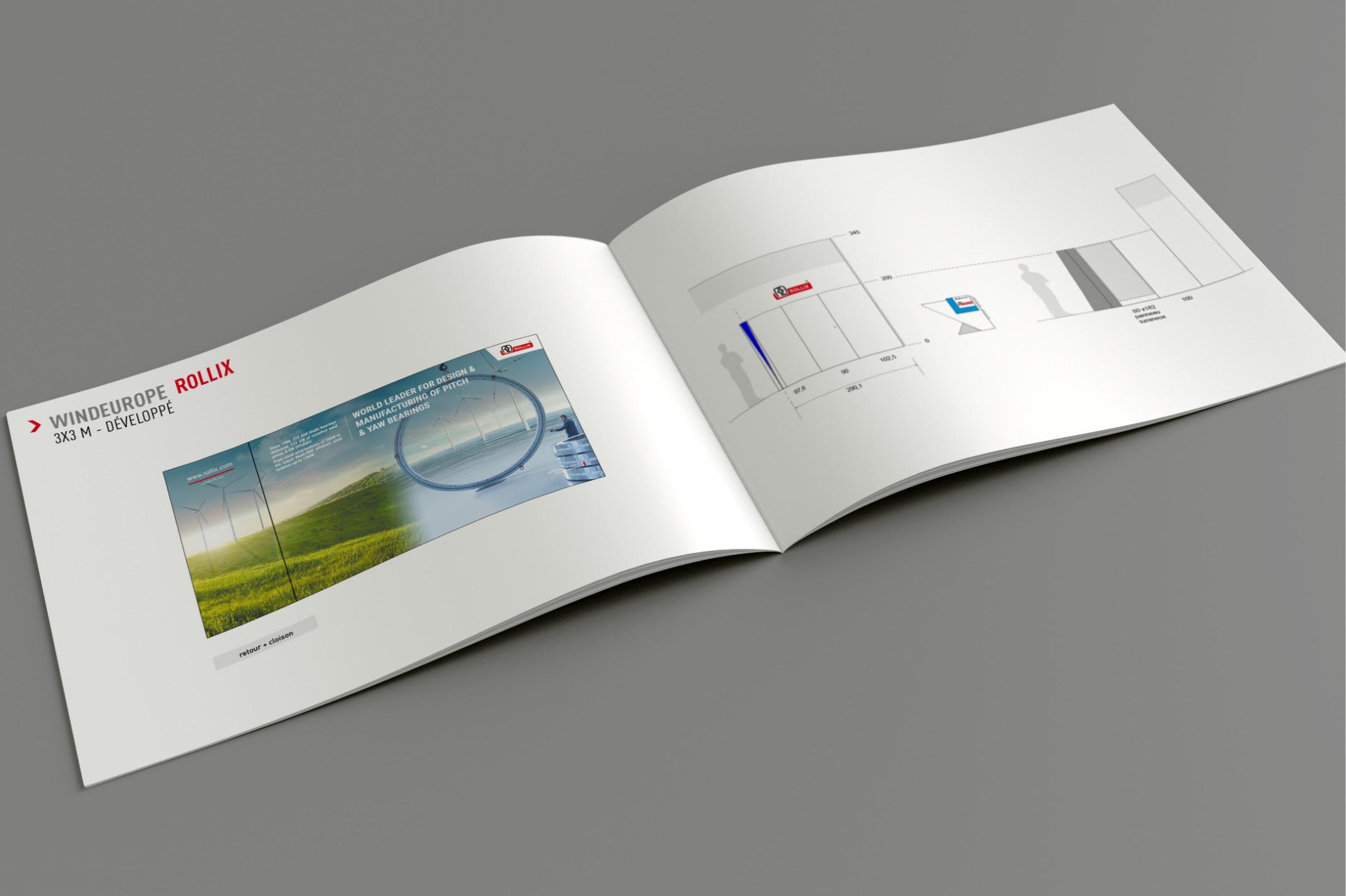 Bicub a travaillé sur la création graphique du stand Rollix pour le WindEurope 2019