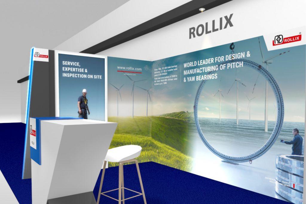 Le stand Rollix au langage graphique clair, permet de valoriser ses produits et son image