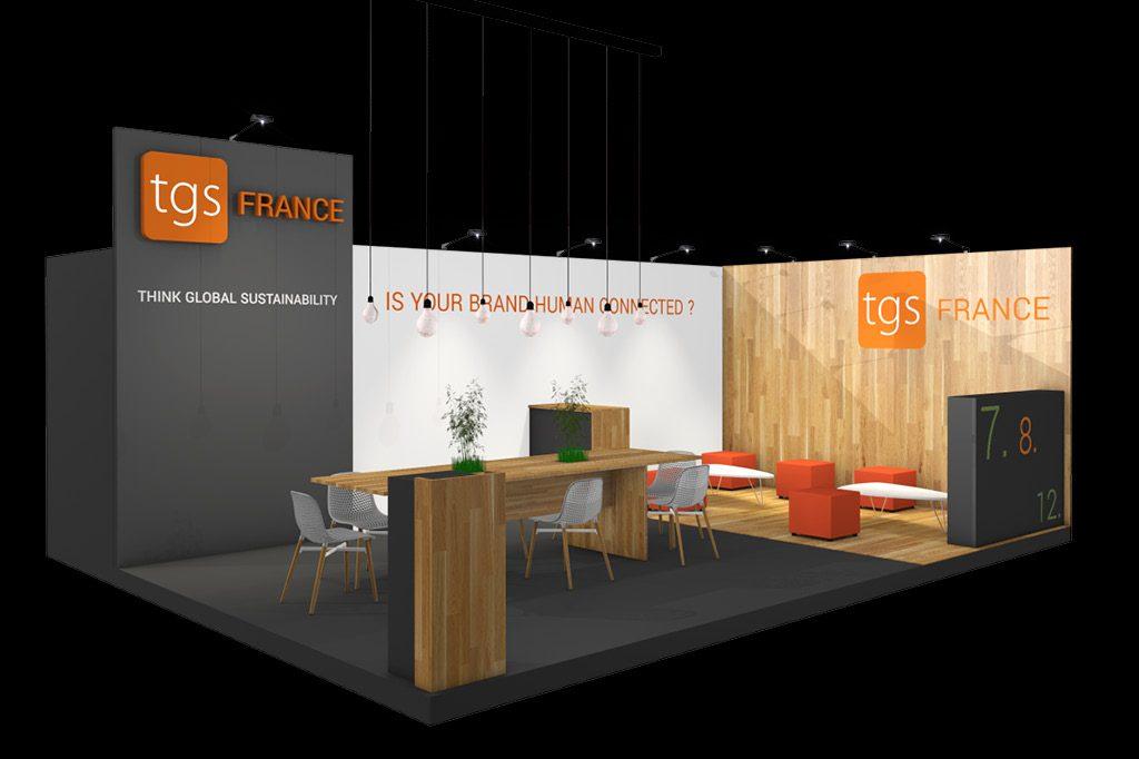Création d'un stand sur mesure pour TGS FRANCE et leur présence sur le salon de la Franchise 2018.
