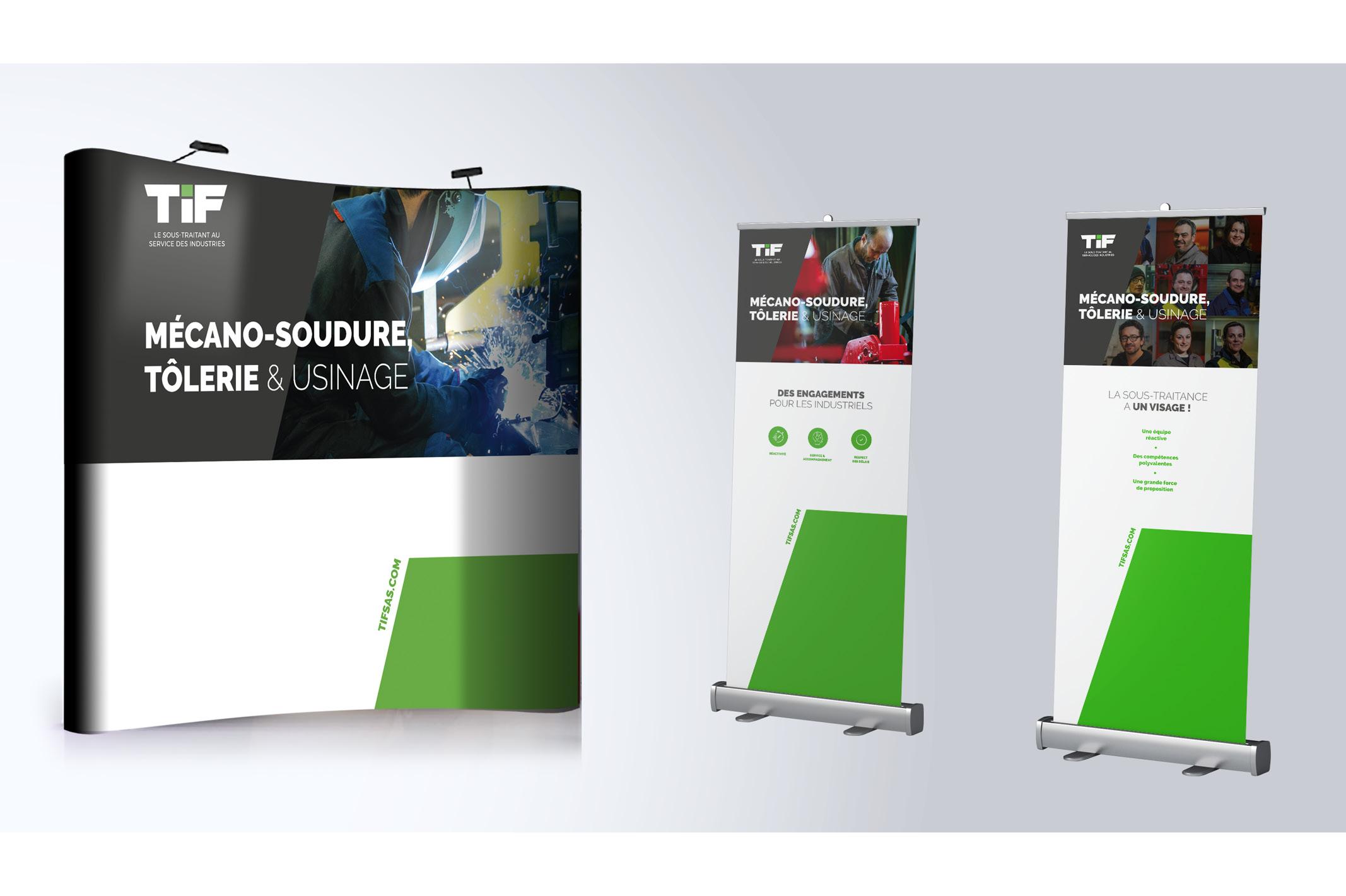 La création d'un stand parapluie et de deux rolls-up mettant en valeur la société TIF SAS lors de divers salons.