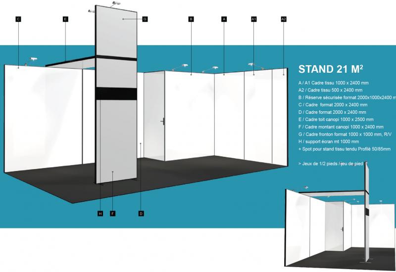 Vue 3D de la structure du stand